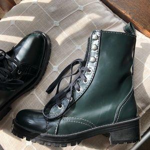 Zara women Dark green combat boots US 6.5 NWT